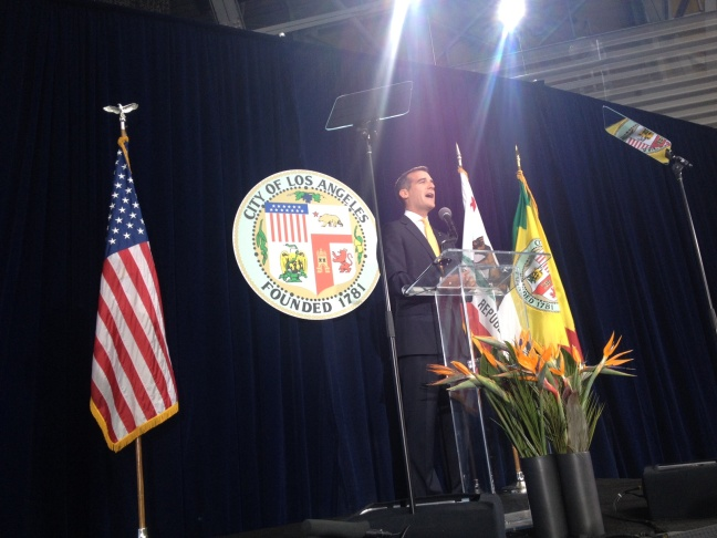 Mayor Eric Garcetti delivered his first State of the City address Thursday at the Wallis Annenberg Building for Science Learning and Innovation at the California Science Center.
