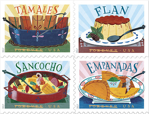 Tamales, Flan, Sancocho and Empanada stamps.