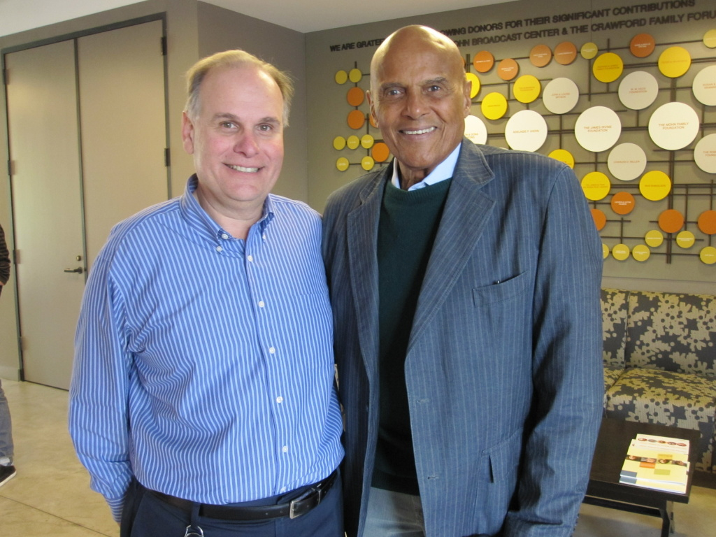 Larry Mantle (L) with Harry Belafonte at KPCC.