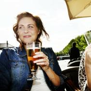 Women drinking draft beer.