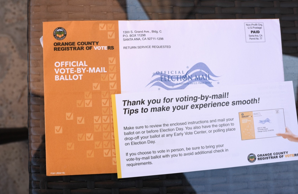 A mail-in ballot for the midterm elections is displayed in upscale Laguna Niguel in southern California's Orange County, October 14, 2018.