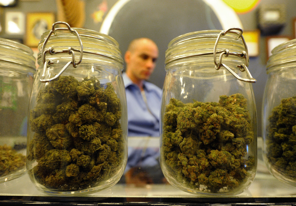 Jars full of medical marijuana are seen at Sunset Junction medical marijuana dispensary on May 11, 2010 in Los Angeles, California.