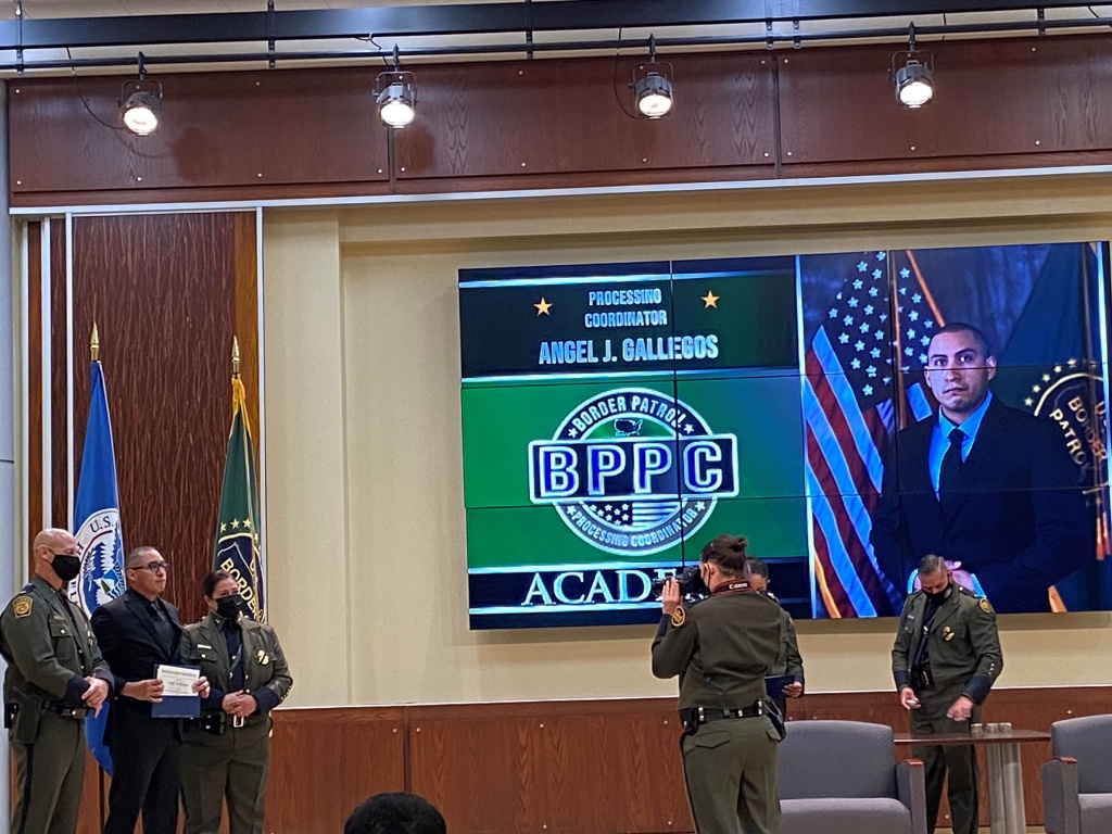The recent graduation ceremony for the Border Patrol's Processing Coordinator program. The people in these new positions will be assigned to work inside stations to care for the individuals Border Patrol agents apprehend.