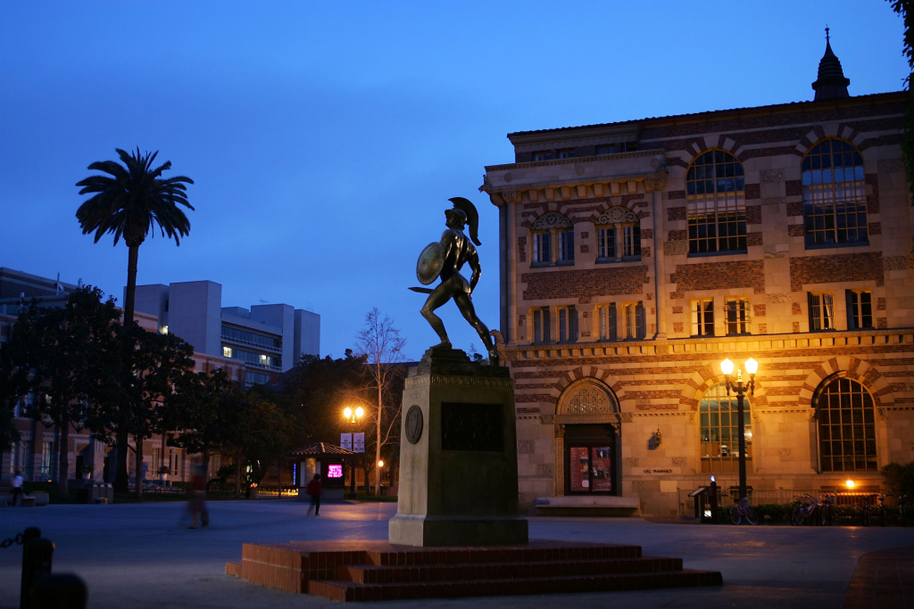 A statue of the school mascot, the Trojan, stands on the campus of the University of Southern California (USC) in Los Angeles, California.