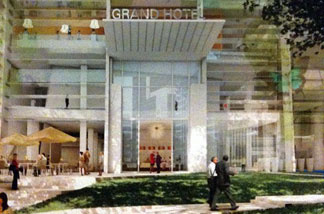 The hotel will include a small public space along 7th and Figueroa.