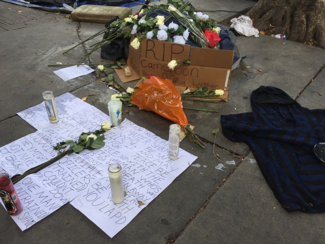 A makeshift memorial for the shooting victim in Skid Row.
