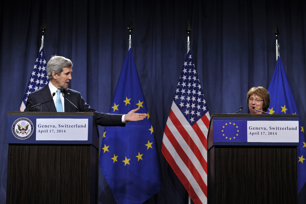 US Secretary of State John Kerry and EU Foreign Policy Chief Catherine Ashton speak during a press conference at the Intercontinental hotel on April 17, 2014 in Geneva, Switzerland. Leaders from EU, US, Ukraine and Russia are meeting today in Geneva to deescalate the crisis in Ukraine and to find a political solution.