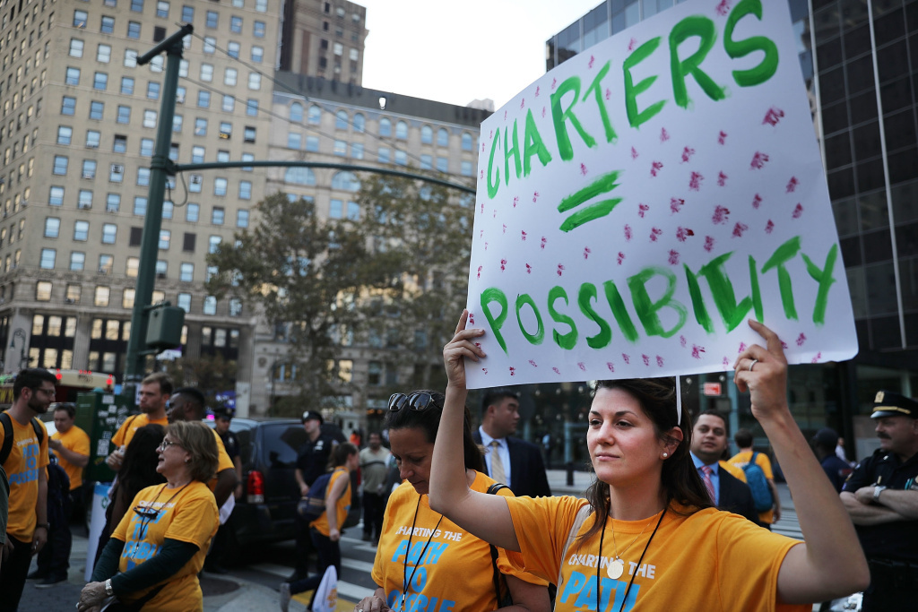 Thousands of teachers rallied in New York City's Foley Square last October to demand that Mayor Bill de Blasio take action on charter school growth.