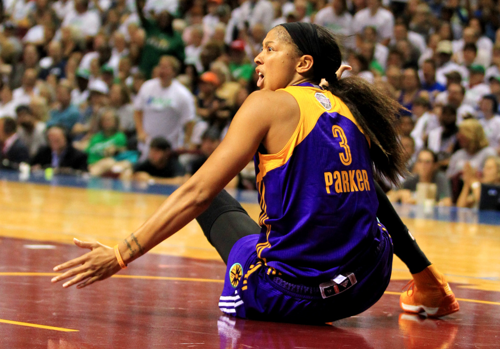 Candace Parker of the Los Angeles Sparks reacts after getting knocked to the floor against the Minnesota Lynx during the fourth quarter of Game One of the 2017 WNBA finals.