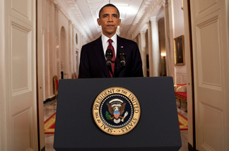President Barack Obama stands after addressing the nation on TV from the East Room of the White House to make a televised statement May 1, 2011 in Washington, DC. Bin Laden has been killed near Islamabad, Pakistan almost a decade after the terrorist attacks of Sept. 11, 2001 and his body is in possession of the United States.