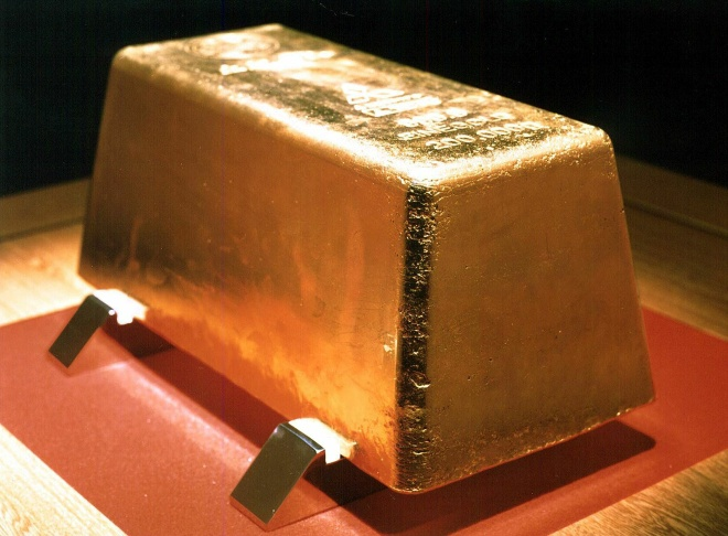 The world's largest gold ingot is displa