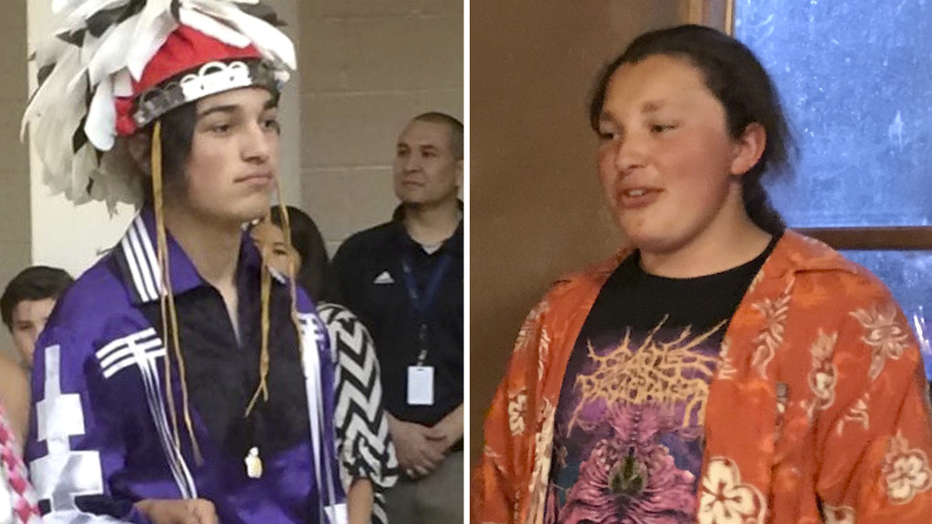 Thomas Kanewakeron Gray (left) and his brother Lloyd Skanahwati Gray were pulled from a Colorado State University admissions tour on Monday after another parent became nervous about their presence and called the police.
