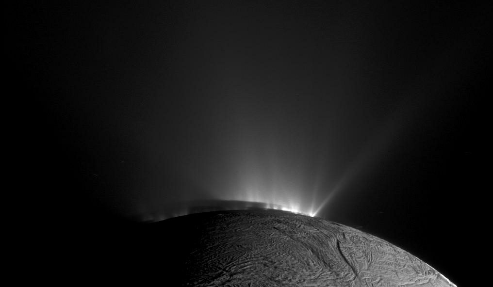 A stream of jets shoot up from the South pole of Enceladus.