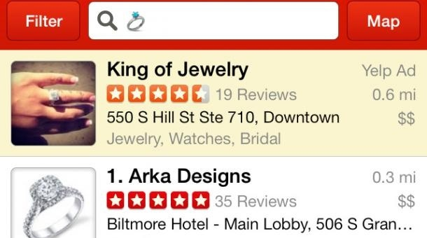 Screenshot of Yelp.