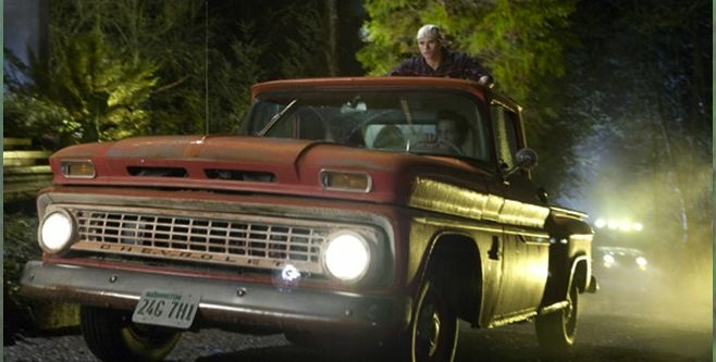 The 1963 red Chevy truck driven by Bella (Kristen Stewart) in the Twilight Saga movies goes on view at Universal CityWalk.