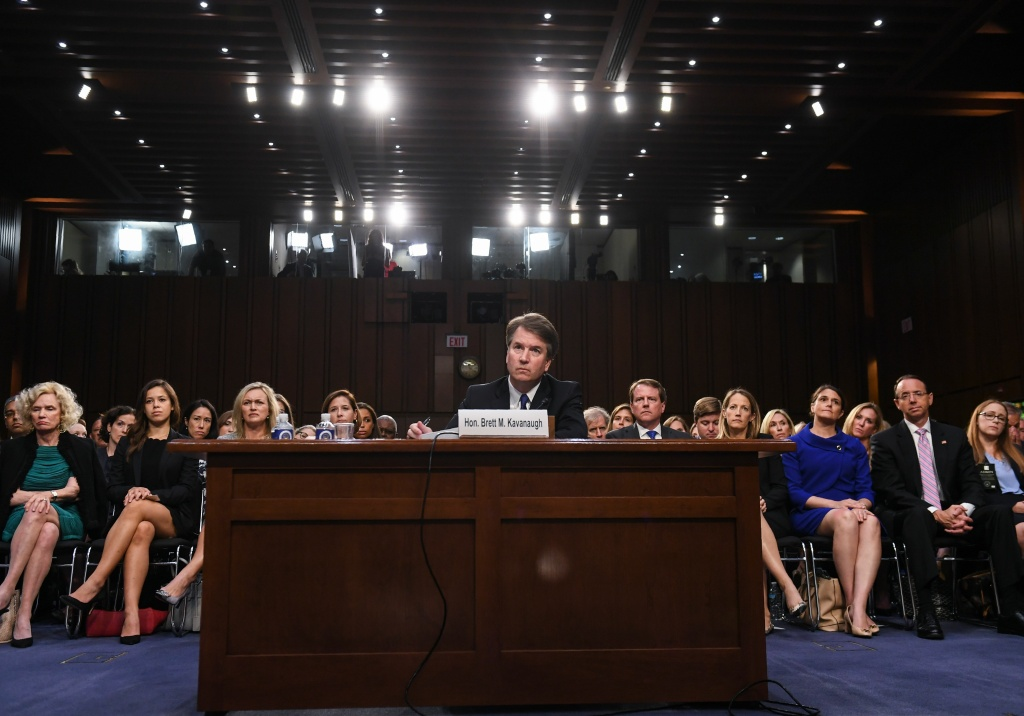 US Supreme Court nominee Brett Kavanaugh listens during the first day of his confirmation hearing in front of the US Senate on Capitol Hill in Washington DC, on September 4, 2018.