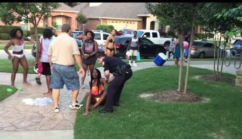 A fight between a mom and a  girl broke out and when the cops showed up everyone ran, including the people who didn't do anything. So the cops just started putting everyone on the ground and in handcuffs for no reason. This kind of force is uncalled for especially on children and innocent bystanders.