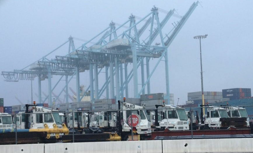 Idle trucks at the APM Terminals at the Port of Los Angeles as a result of the clerical workers strike.