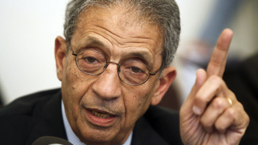Amr Moussa, the front-runner in the Egyptian presidential race, speaks during a press conference in Cairo on Apr. 22.