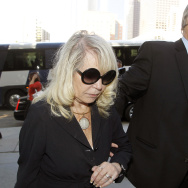 Shelly Sterling, the estranged wife of Los Angeles Clippers owner Donald Sterling, arrives at a Los Angeles courthouse with her attorney Pierce O' Donnell, Monday, July 7, 2014. (AP Photo/Nick Ut)