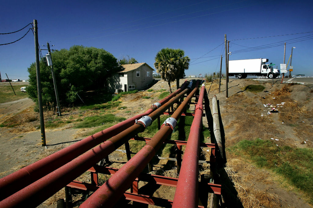 Water pump pipes are seen at the Little Connection of the San Joaquin River in the Sacramento-San Joaquin River Delta, near Stockton, California