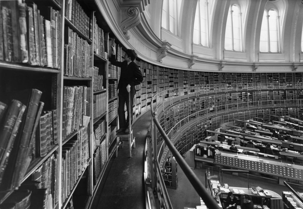 February 1968: A section of the gallery of the famous circular Reading Room at the British Museum in London.
