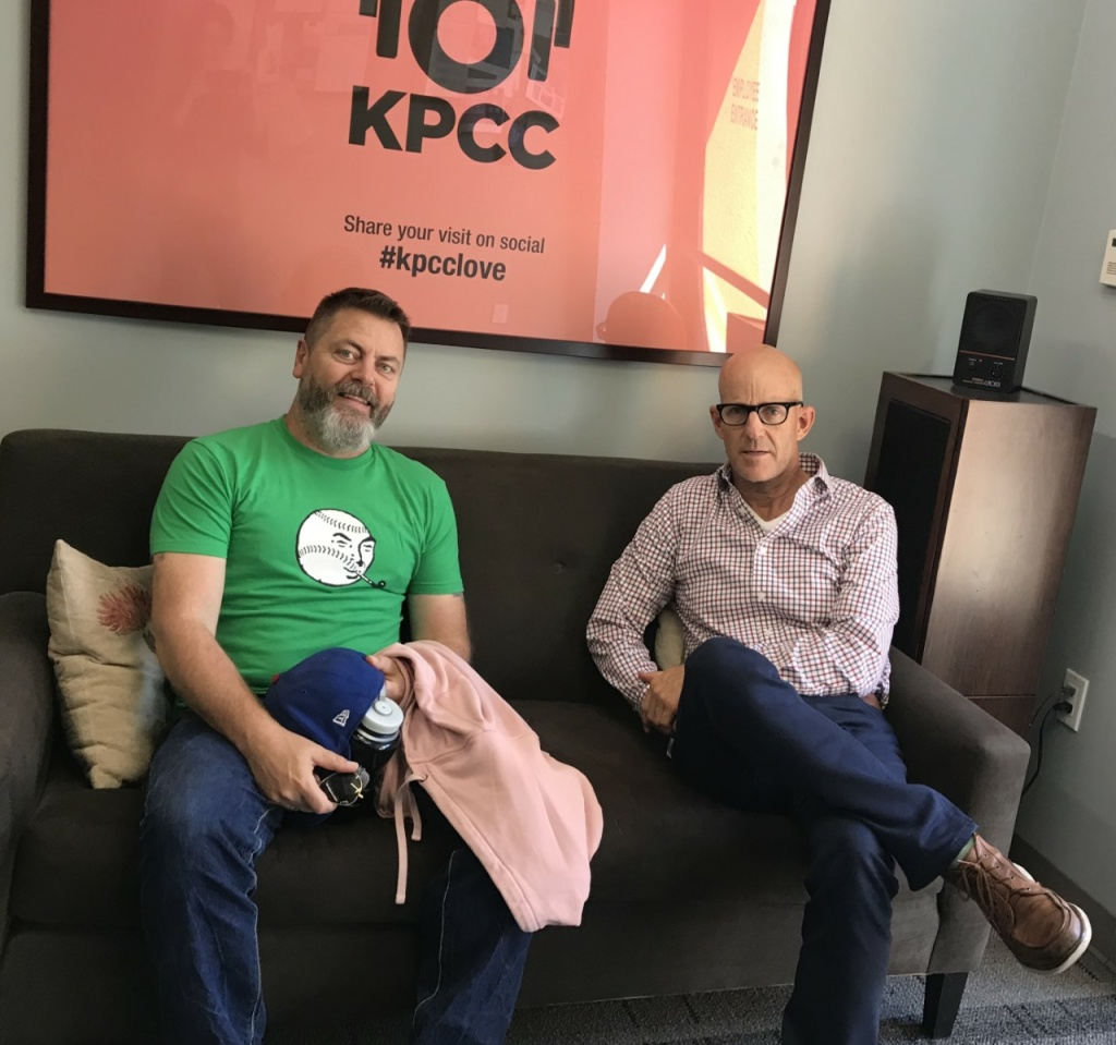 Nick Offerman, left, recently visited The Frame studio for a chat with host John Horn.