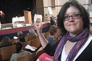Long Beach teacher Vanessa Dody at a recent hearing for pink-slipped teachers.