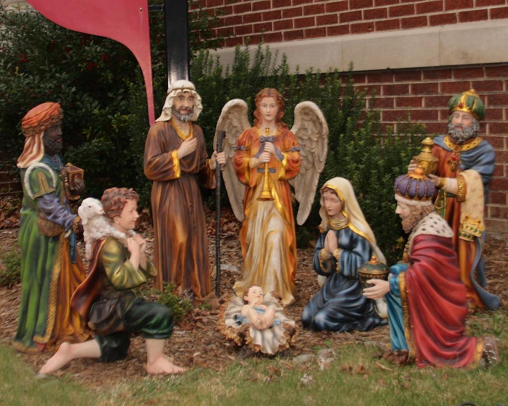 A nativity scene at a Methodist church.