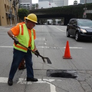 Pothole filling 8th & Bixel