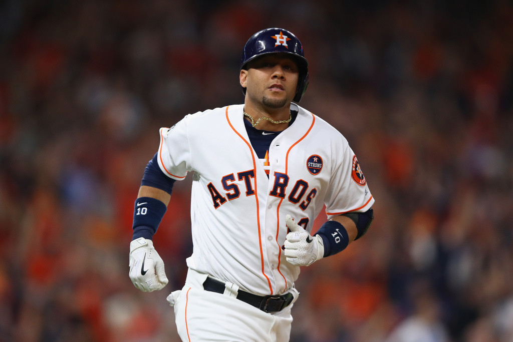 Yuli Gurriel (#10) of the Houston Astros reacts after hitting a solo homerun during the second inning against the Los Angeles Dodgers in Game 3 of the 2017 World Series on October 27, 2017 in Houston, Texas.