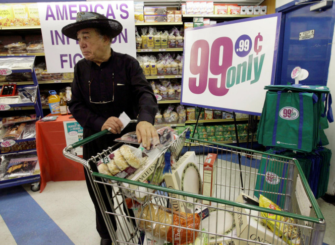 In this Sept. 8, 2008 file photo, Jacques Elsair shops at a 99 Cents Only Store in Los Angeles.