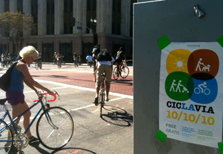 Cyclists, skateboarders, roller-skaters and more took to L.A.'s streets for the inaugural CicLAvia event Sunday.