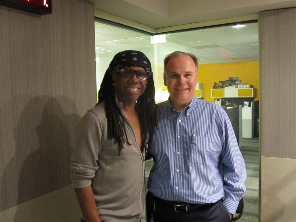 Larry Mantle with Nile Rodgers in studio.