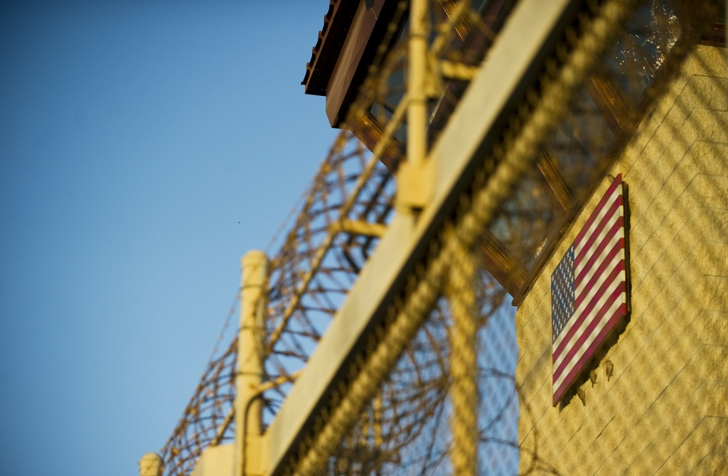 This image reviewed by the US military shows the guard tower at the front gate of