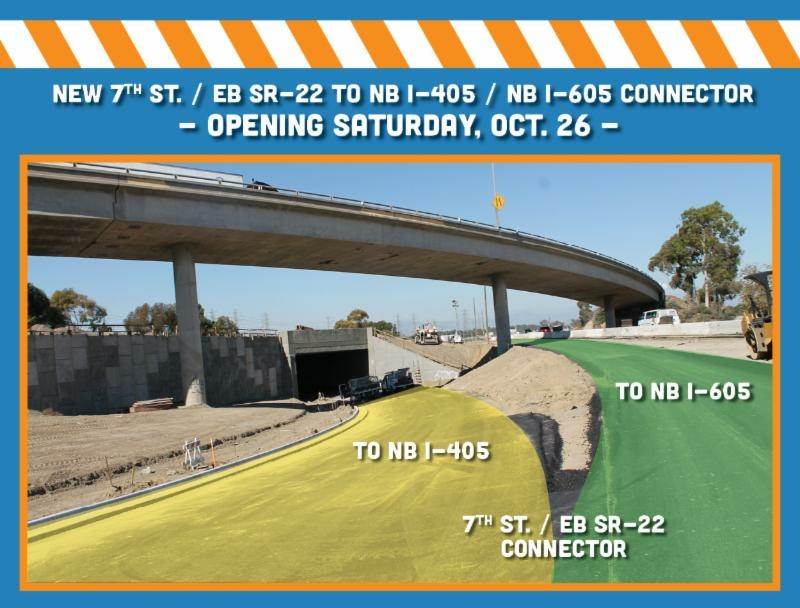 A new connector bridge along a stretch of I-405 in Orange County is one of several improvement projects intended to improve traffic along one of the most congested freeways in the U.S.