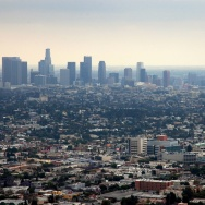 "Normally, May is hotter than April, April hotter than March, but in many locations around Southern California, we had a cooling trend the deeper we got into spring this year. (Stock photo: The Los Angeles skyline is shown during ""June gloom."")"