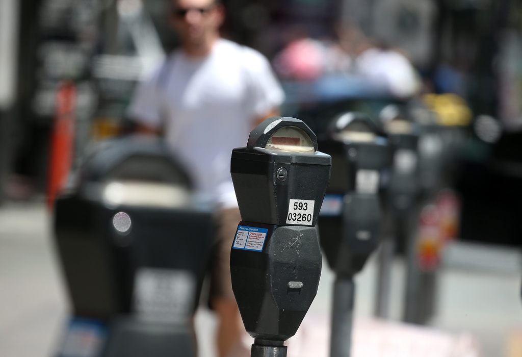 A row of parking meters line O'Farrell Street on July 3, 2013 in San Francisco, California.