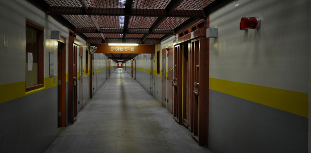 "The ""Security Housing Unit"" at Pelican Bay State Prison. Tuesday, US Senator Dick Durbin compared living in a SHU cell to being locked in a space capsule. California prison officials deny the SHU is ""solitary confinement"" — inmates there are allowed non-contact visits, mail, and interact with correctional staff."