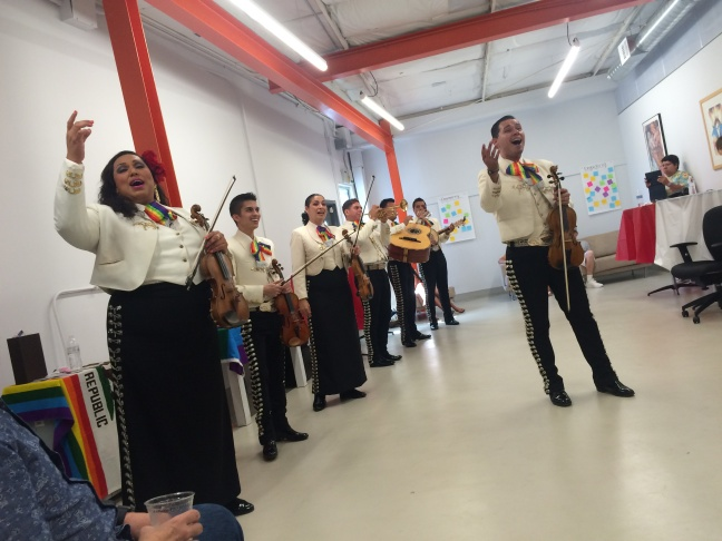 Mariachi Arcoiris de Los Angeles, an all-LGBT band, sings at the opening celebration of Mi Centro. The location is a new outpost in Boyle Heights as a collaboration between the Los Angeles LGBT Center and the Latino Equality Alliance.