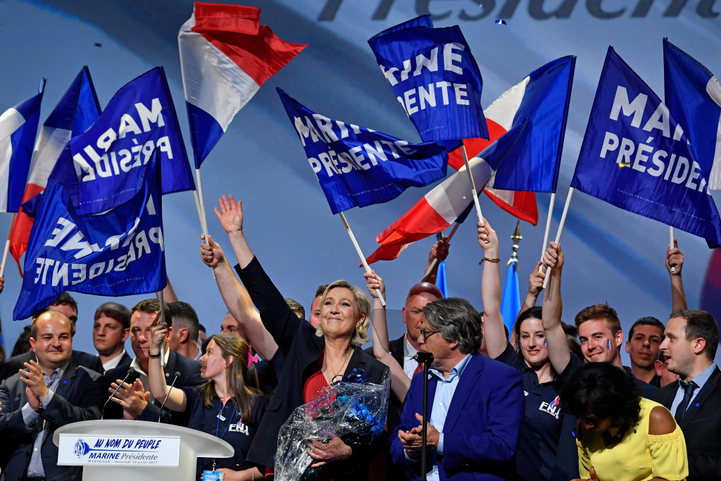 National Front Leader Marine Le Pen, holds a presidential campaign rally at the Dome De Marseille on April 19, 2017 in Marseille, France.
