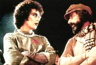 Tim Curry (L) and Lou Adler in a production shot from The Rocky Horror Picture Show.