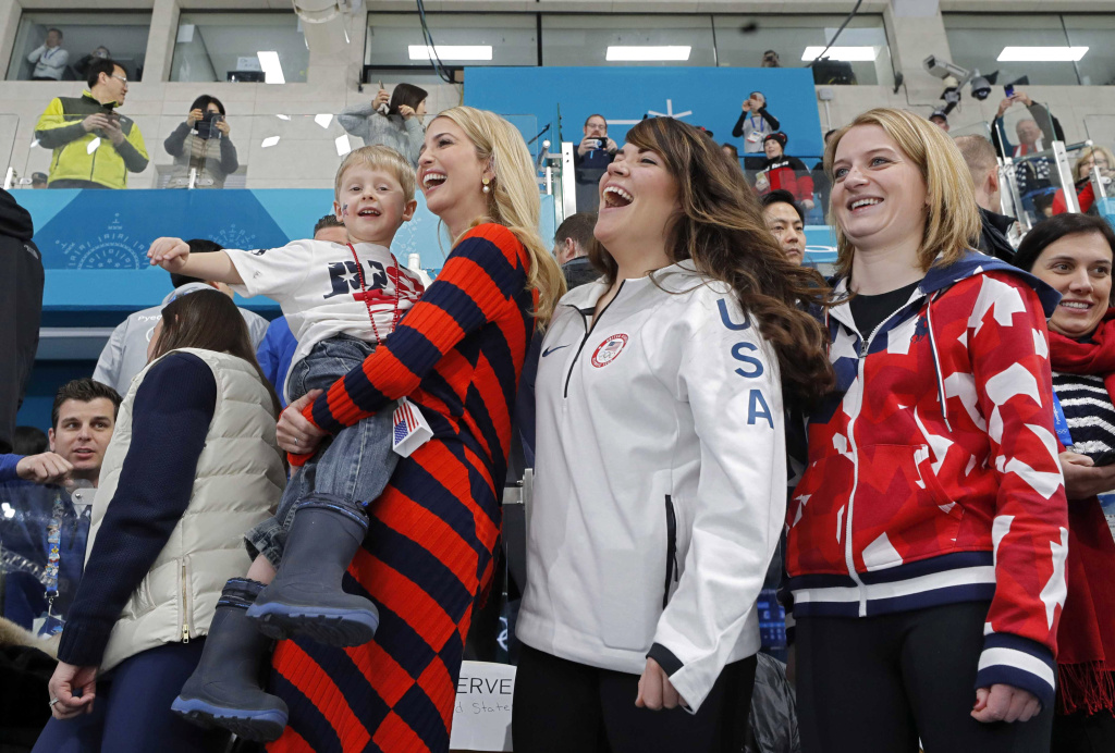 PYEONGCHANG, CHINA - FEBRUARY 24:  Ivanka Trump, U.S. President Trump's daughter and senior White House adviser, holds Luke Shuster, son of skip John Shuster of the U.S team next to athletes Cory Christensen and Rebecca Hamilton as she attends the Men's Gold Medal Curling match between Sweden and United States of America at Gangneung Curling Centre on February 24, 2018 in Gangneung, South Korea. Ivanka Trump is on a four-day visit to South Korea to attend the closing ceremony of the PyeongChang Winter Olympics.  (Photo by Eric Gaillard-Pool/Getty Images)