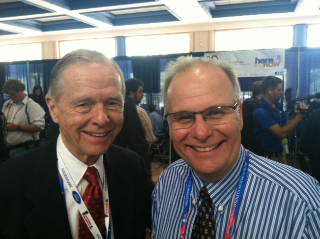 Former California Governor Pete Wilson poses for a picture with AirTalk's Larry Mantle