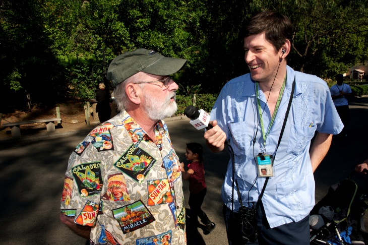 "KPCC's John Rabe with former LA Zoo curator Mike Dee. On February 8th, as part of its ""Sex and the City Zoo"" Valentines event, Dee will be giving ""a provocative presentation about animal mating, dating and cohabitating"" at the Zoo."