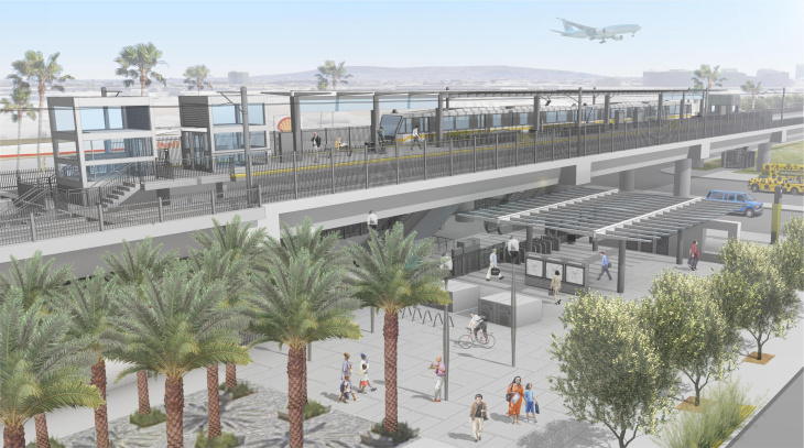 A rendering of the Aviation/Century station that will be shared by the Crenshaw/LAX Line and the Green Line.