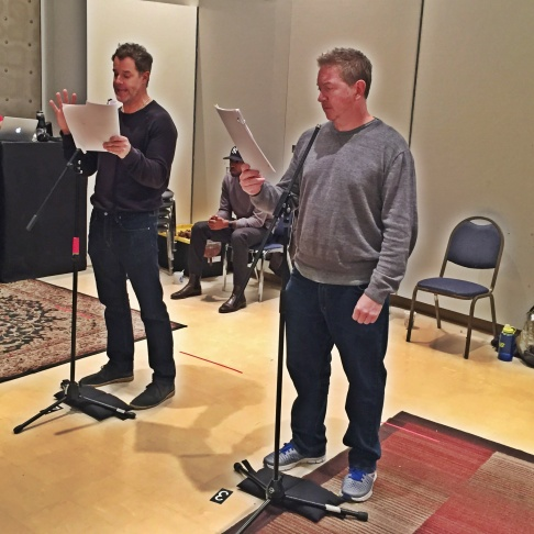 Off-Ramp host John Rabe and actor Josh Stamberg in a totally candid shot as Stamberg - son of NPR's Susan Stamberg - rehearsed the LA Theatre Works production of David Mamet's