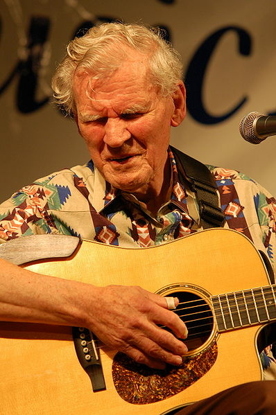 Doc Watson, 86 years old, plays to the crowd at the Sugar Grove Music Fest.