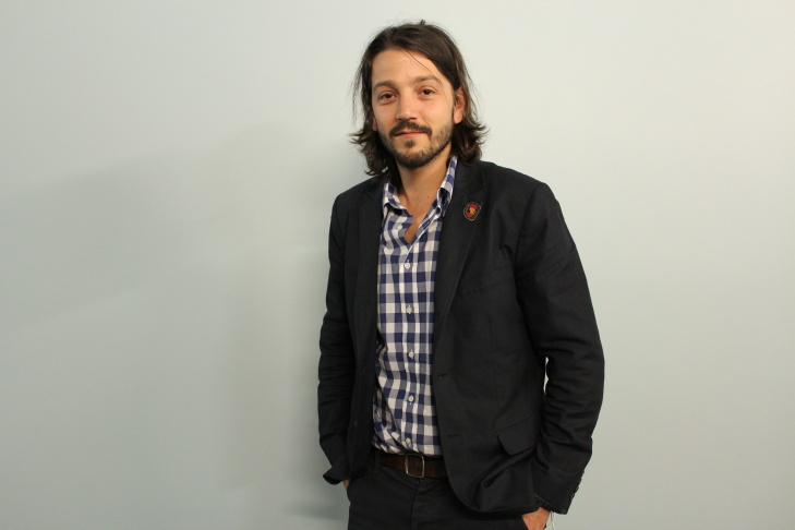 Actor/Director Diego Luna poses with Take Two host A Martinez.