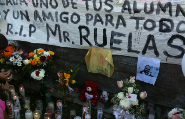 A memorial is set up for Rigoberto Ruelas at Miramonte Elementary School in South Gate, Calif. on Sept. 27, 2010.